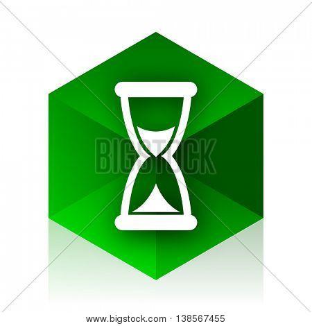 time cube icon, green modern design web element