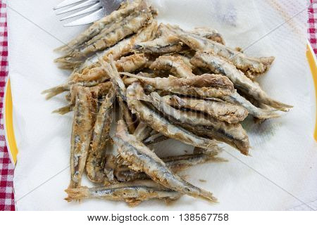 whole anchovies battered and fried in olive oil