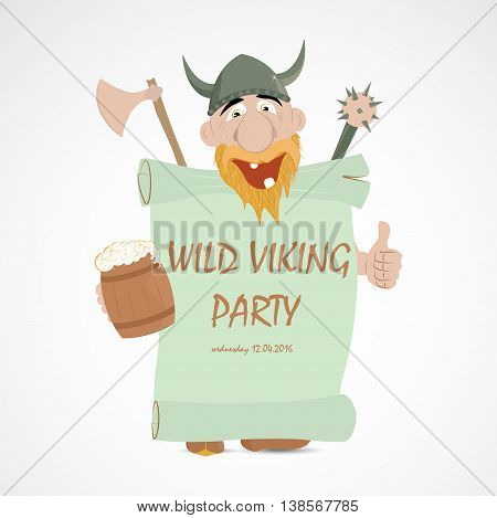 Funny cartoon viking with thump up and jug of beer holding party banner
