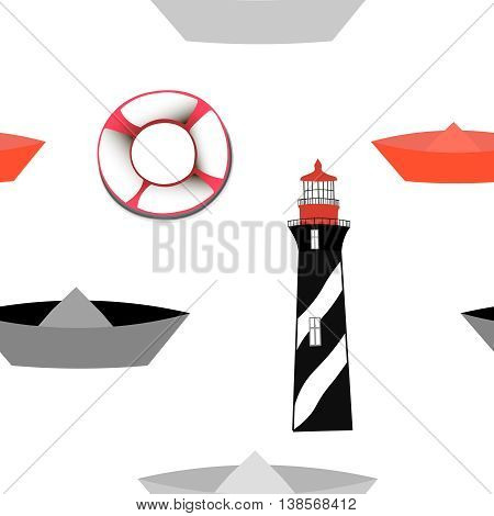 Seamless pattern with lighthouse and boats, vector image