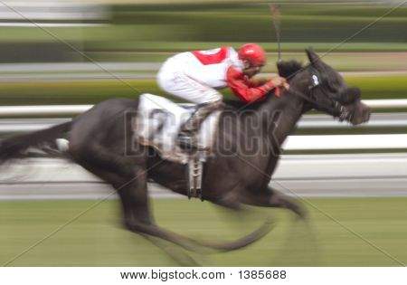 Single Horse And Jockey 2  Motion Blur
