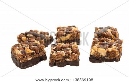 dessert with nuts and raisins isolated on white background