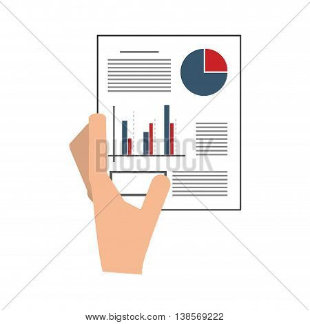 flat design hand holding graph chart icon vector illustration