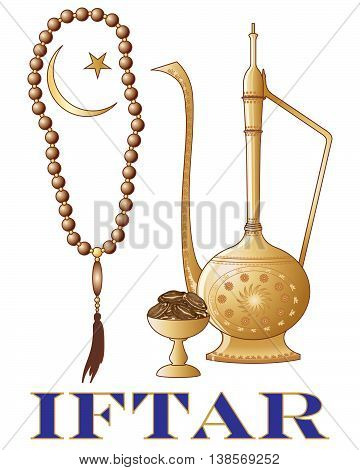 an illustration of an iftar party invitation with islamic jug dates prayer beads and crescent moon symbol on a white background