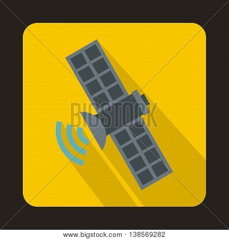 Space satellite icon in flat style on a yellow background