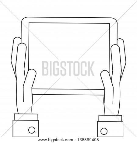 flat design hands holding tablet icon vector illustration