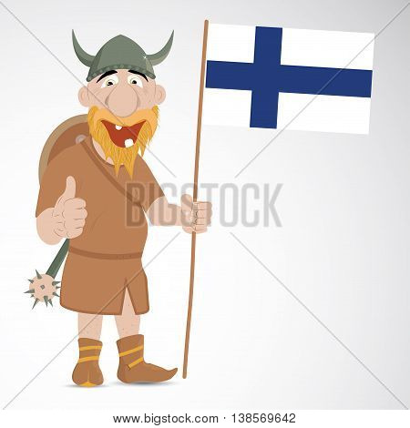Funny cartoon viking with thump up and showing Finland flag