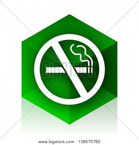 no smoking cube icon, green modern design web element