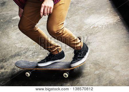 Skater Boy Cruising Board Street Concept