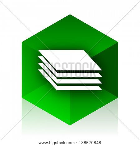 layers cube icon, green modern design web element