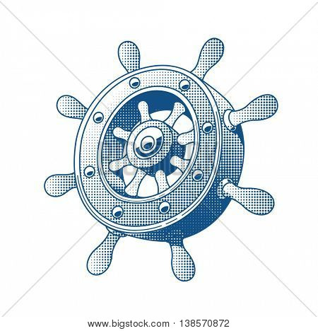 Ship wheel marine tattoo vector illustration boats helm