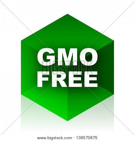 gmo free cube icon, green modern design web element