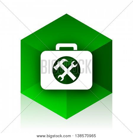 toolkit cube icon, green modern design web element