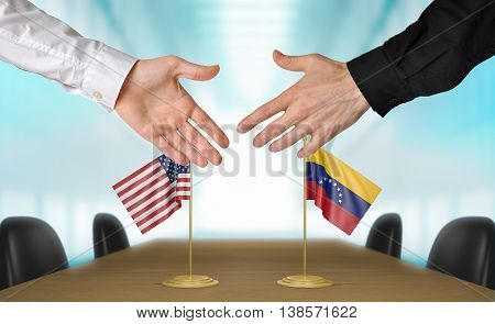 United States and Venezuela diplomats shaking hands to agree deal, part 3D rendering