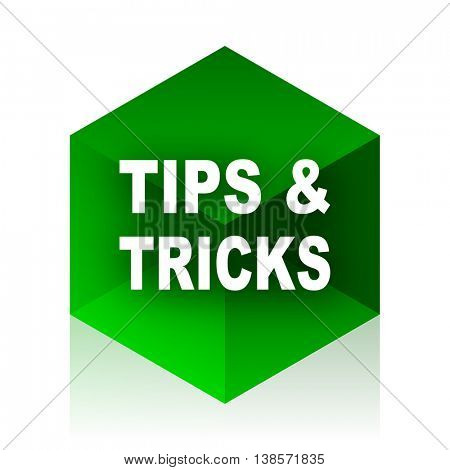 tips tricks cube icon, green modern design web element
