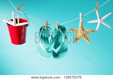 Summer Theme With Sandals, Pail And Starfish