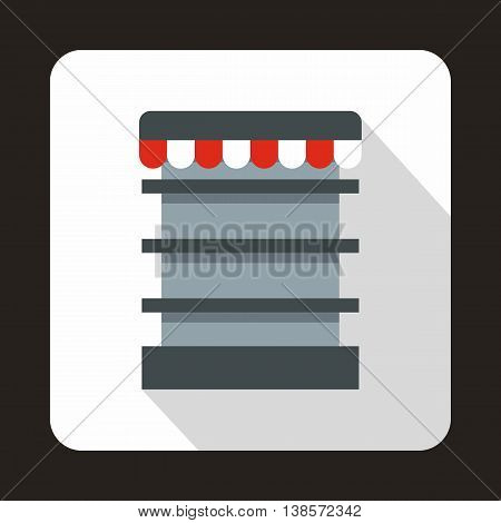 Empty supermarket refrigerator icon in flat style on a white background