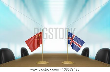 China and Iceland relations and trade deal talks, 3D rendering
