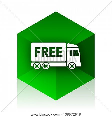 free delivery cube icon, green modern design web element