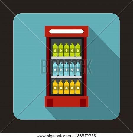 Fridge with refreshments drinks icon in flat style on a light blue background