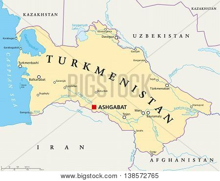 Turkmenistan political map with capital Ashgabat, national borders, important cities, rivers and lakes. Country in Central Asia. English labeling. Illustration.