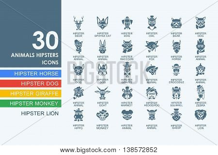 animals hipsters vector set of modern simple icons