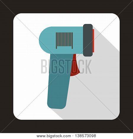 Barcode scanner icon in flat style on a white background
