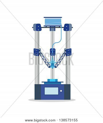 3d Printing Machine printing a piece of plastic. Flat vector isolated icon.