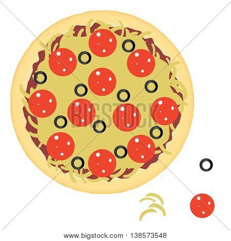 Pepperoni pizza with ingredients. Flat style vector illustration.