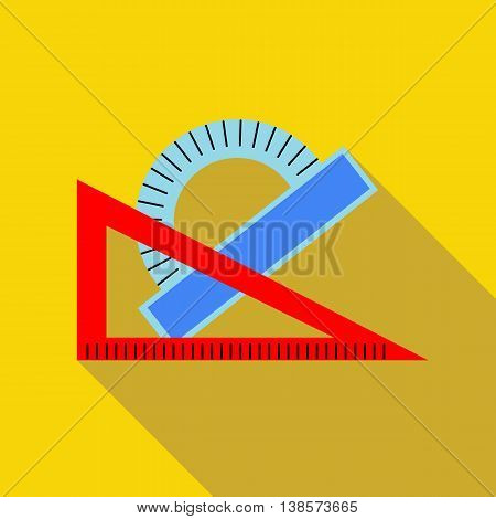 Triangular ruler and protractor icon in flat style on a yellow background
