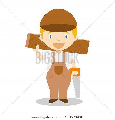 Cute cartoon vector illustration of a carpenter