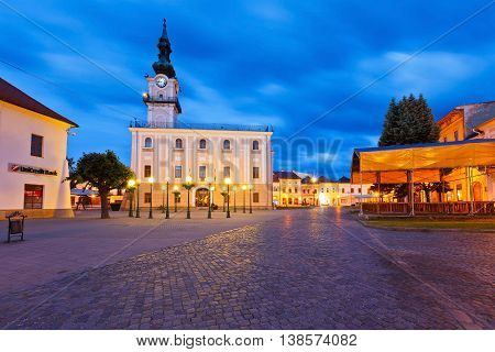 KEZMAROK, SLOVAKIA - JUNE 16, 2016: Town hall and the main square in the town of Kezmarok, on June 16, 2016.