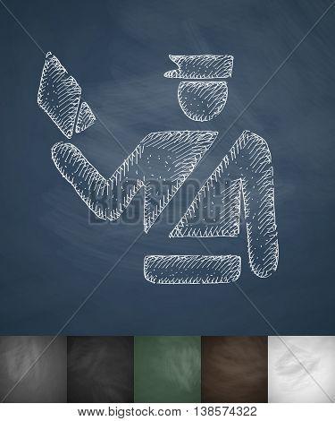 policeman icon. Hand drawn vector illustration. Chalkboard Design