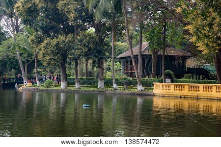 HA NOI, VIET NAM, March 12, 2016 fish pond, relic of president Ho Chi Minh, in central Ha Noi, Vietnam