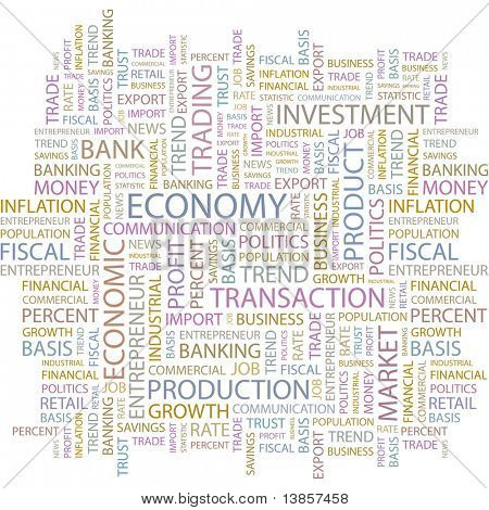 ECONOMY. Illustration with different association terms in white background.