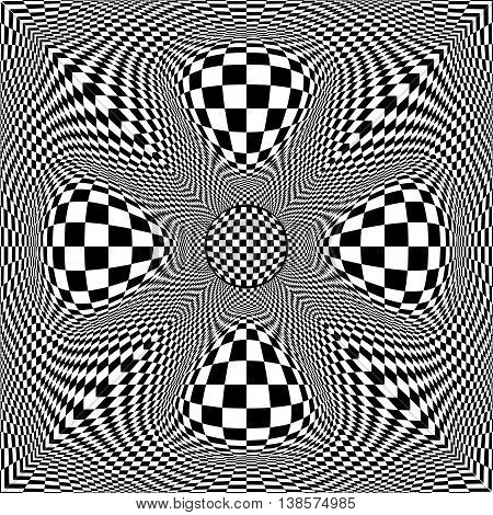 Black and white checkered background. Radially symmetrical pattern. Distorted space. Vector eps10