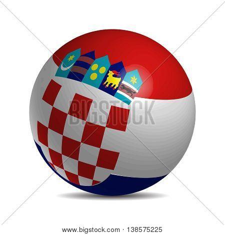 Croatia flag on a 3d ball with shadow, vector illustration
