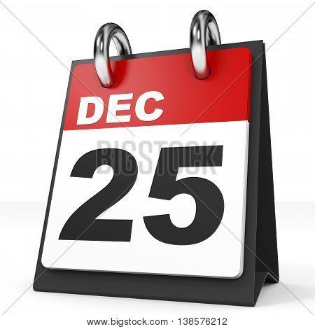 Calendar On White Background. 25 December.