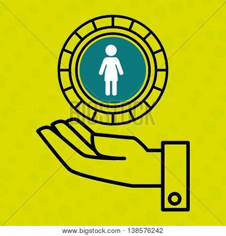 hand and silhouette person isolated icon design, vector illustration  graphic
