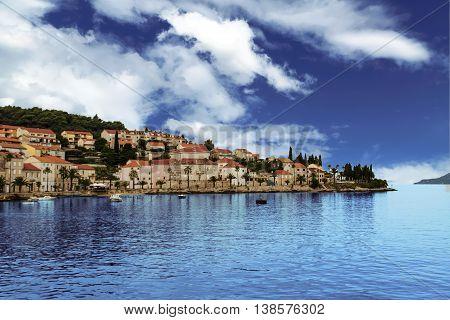 View at Korcula island on Adriatic sea in Croatia