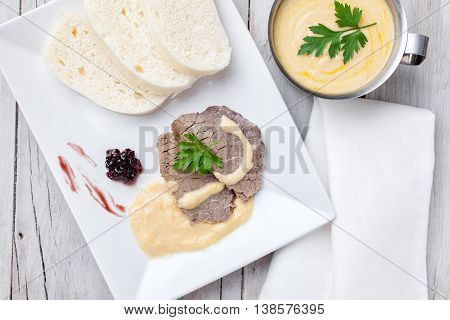 Traditional Czech And Slovak Sirloin With Cream Sauce And Dumplings