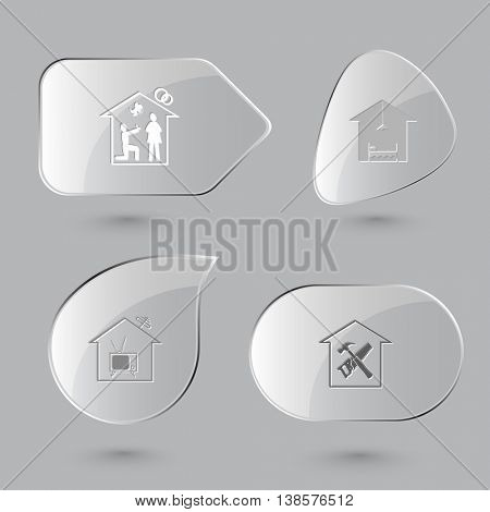 4 images: home affiance, hotel, tv, workshop. Home set. Glass buttons on gray background. Vector icons.