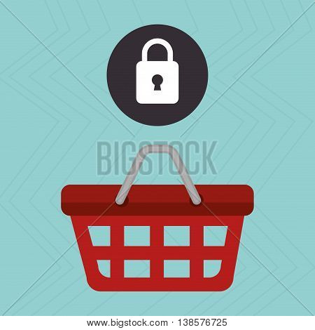 red basket and padlock isolated icon design, vector illustration  graphic