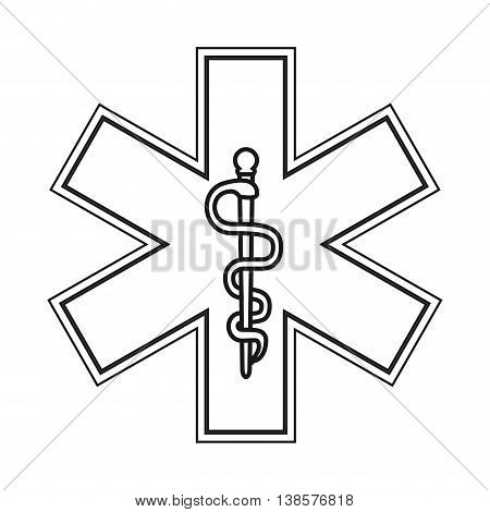 flat design rod of asclepius icon vector illustration