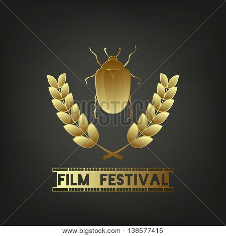 Golden Beetle. Festival symbol template. Sign - Film Festival. Camera film 35 mm roll gold, festival movie poster. Black background. Vector illustration.