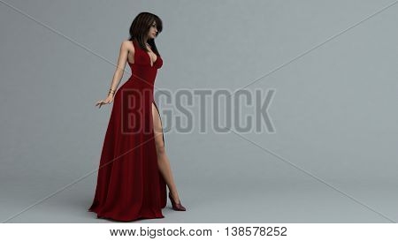 3d illustration of a young woman in red long dress