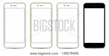 Set of Smartphones with blank screen in four colors white, rose, gold and black, isolated on white background - high detailed realistic eps 10 vector illustration