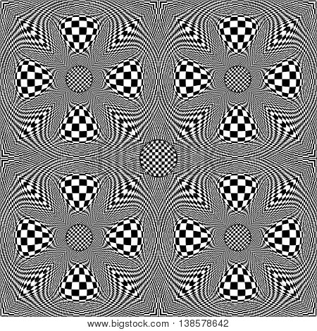 Black and white checkered background seamless. Radially symmetrical pattern. Distorted space. Vector eps10