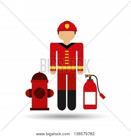 firefighter job wirh Fire hydrant icon, vector illustration