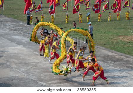HAI DUONG, VIETNAM, February 22, 2016 festival, dragon dance, in honor of national hero Tran Hung Dao, in Hai Duong